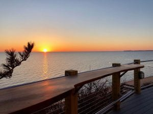 WOCA of Cape Cod treated Deck Counter with Sunset
